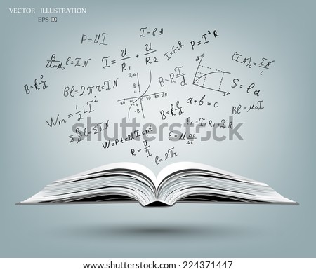 An open book with a gray cover. Science icons Doodle physics laboratory. Education, research, experiments. A book about physics. - stock vector