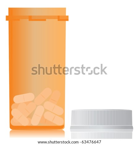 An open bottle with some pills. - stock vector