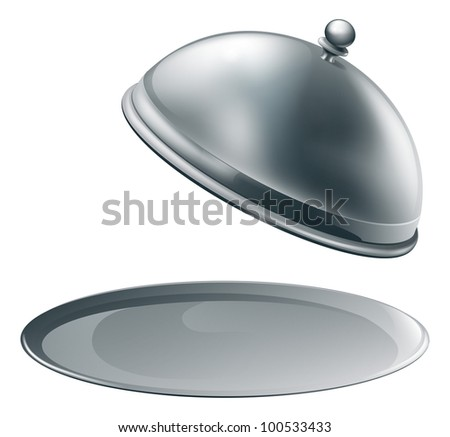 An open empty metal silver platter or cloche with space to place object or text on it - stock vector
