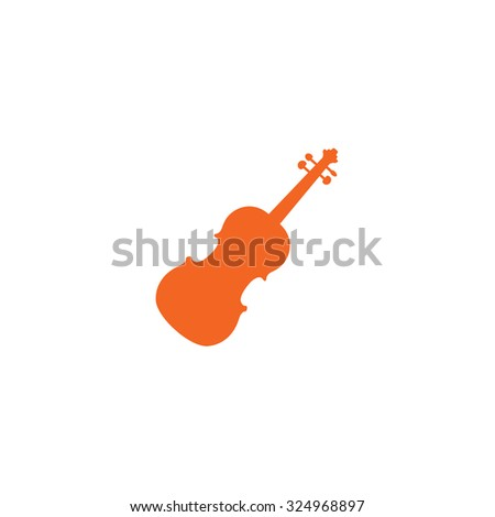An Orange Icon Isolated on a White Background - Violin - stock vector