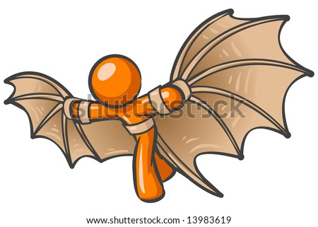 An orange man using a flying contraption he invented, in the style of that old artist. - stock vector