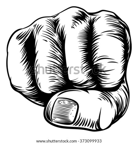 An original design of a fist hand in a vintage woodcut woodblock style - stock vector