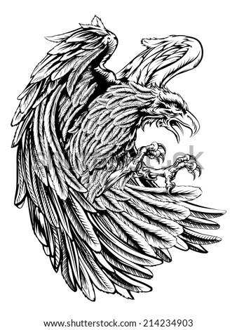 An original eagle illustration  in a vintage wood cut style - stock vector