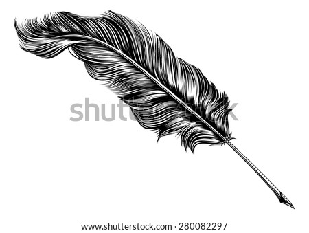 An original illustration of a feather quill pen in a vintage woodblock style - stock vector