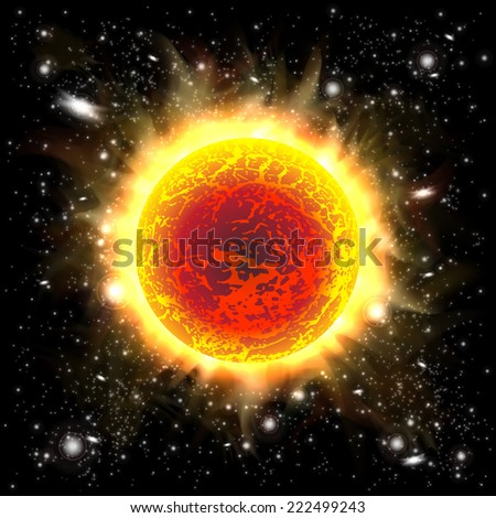 An outer space background with the sun. Layered. - stock vector
