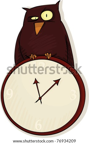 An owl sits on a large round clock - stock vector