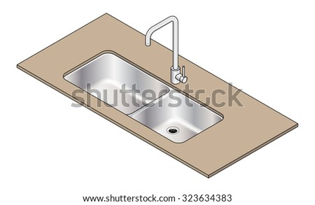 An under-mount double bowl stainless steel kitchen sink with a swivel mixer tap. - stock vector