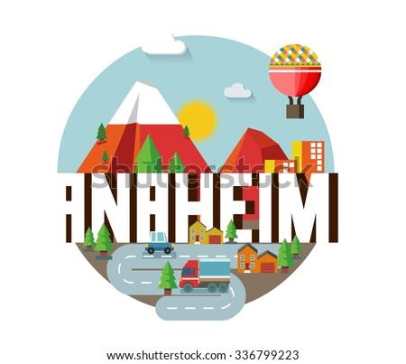 Anaheim city travel destination in USA. vector cartoon, - stock vector