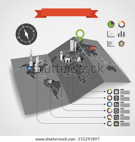 Analitic information on the Earth map. Infographic elements - stock vector