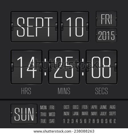 Analog black scoreboard digital week timer  - stock vector
