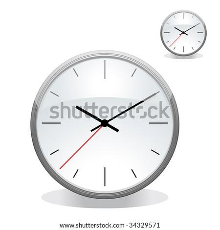 analog clock front - stock vector