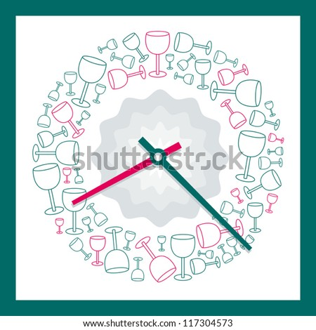 Analog Clock Vector illustration with glasses decorative pattern on a white background - stock vector