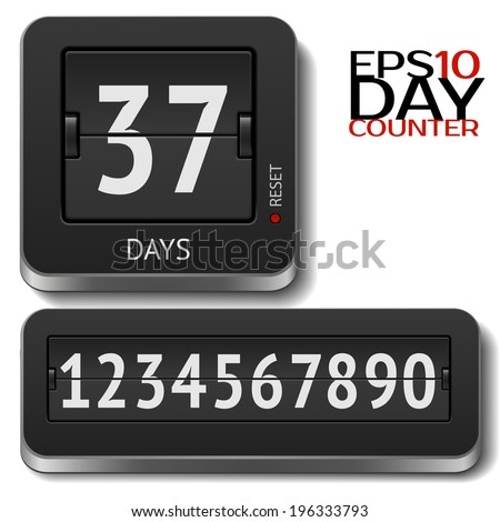 Analog 3D flip day counter isolated on white - stock vector