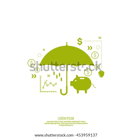 Analysis and Financial Management Report and Forecast. Stock market indicators and statistics data.  Protection of money, personal funds, bank deposits. - stock vector