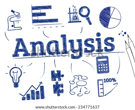 Analysis. Chart with  icons - stock vector
