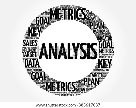 Analysis circle word cloud, business concept background - stock vector
