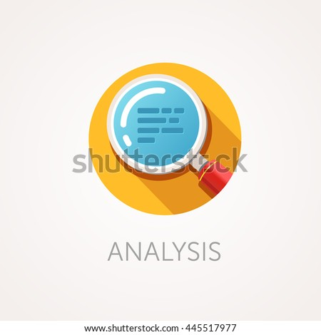 Analysis Icon. Flat design style with long shadow. Research or scan icon. Magnifying glass icon with zoom text. App icon - stock vector