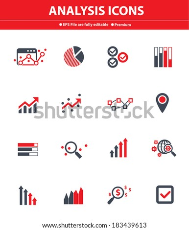 Analysis icons on white background,Red version - stock vector