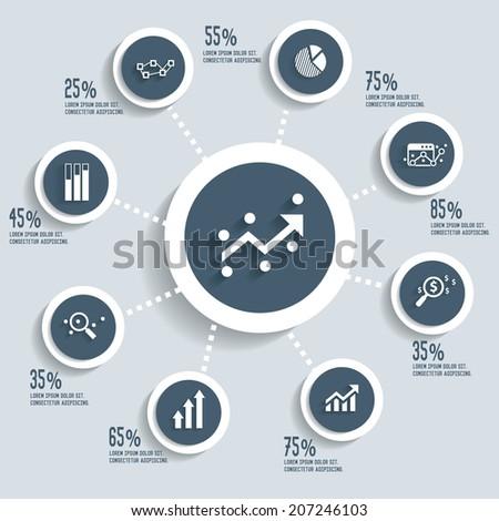 Analysis info graphic design concept dark version,clean vector - stock vector