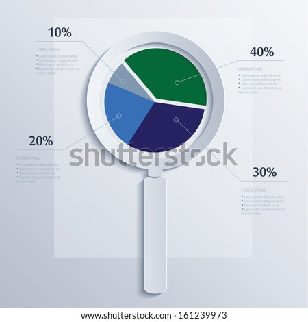 Analysis. Magnifying glass with business pie. - stock vector