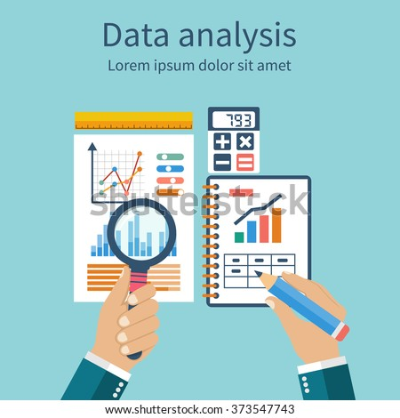 Analysis of concept in flat design. Process research financial growth, graph statistics, data analysis, business document,  market, strategic, annual reports. Development Planning. Vector - stock vector