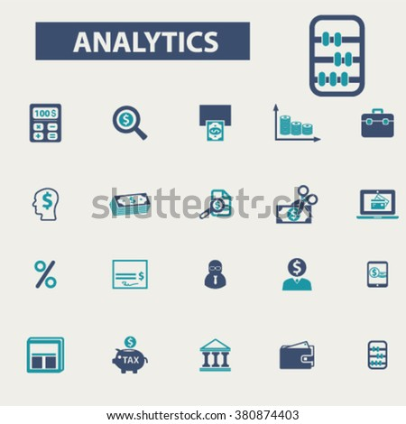 analytics, accounting, finance icons  - stock vector