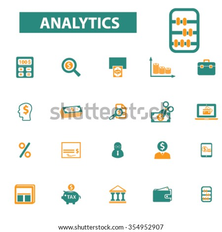 analytics, accounting, finance  icons, signs vector concept set for infographics, mobile, website, application  - stock vector