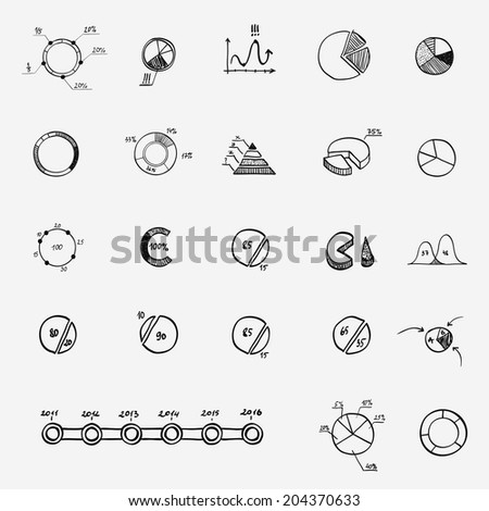 analytics business finance statistics infographics doodle hand drawn elements. Concept - graph, chart - stock vector
