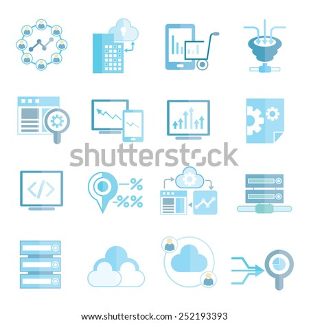 analytics icons, big data icons - stock vector