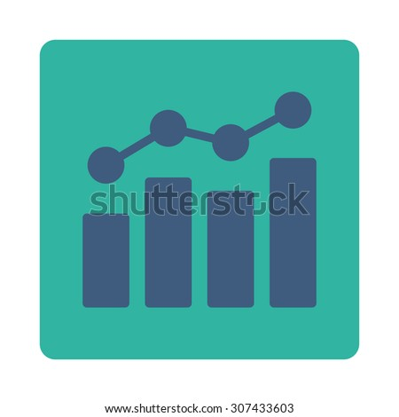 Analytics vector icon. This flat rounded square button uses cobalt and cyan colors and isolated on a white background. - stock vector
