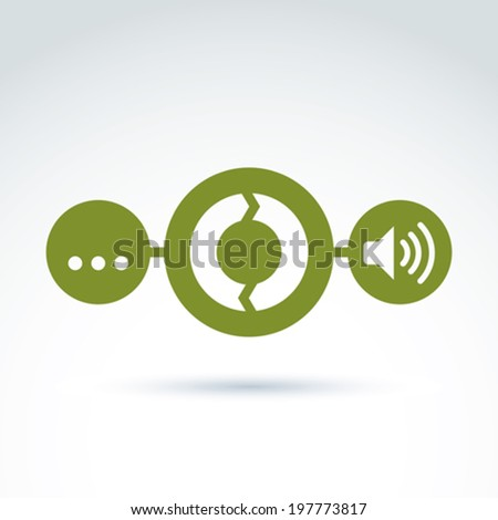 Analyzing data and info, information collecting and exchange theme icon, vector conceptual unusual symbol for your design. - stock vector