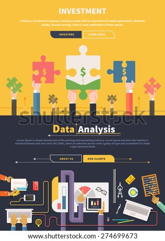 Analyzing financial data investment and charts on banners with buttons in flat design. Hands with puzzles. Creative team work top view. Web banners marketing and promotional materials - stock vector