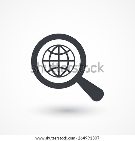 Analyzing world. Magnifier glass with globe - stock vector