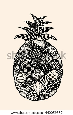 Ananas exotic fruit with abstract pattern. Vector illustration. Hand drawn Doodle artwork. Summer concept for party card, ticket, branding, logo, label. Black, beige color - stock vector