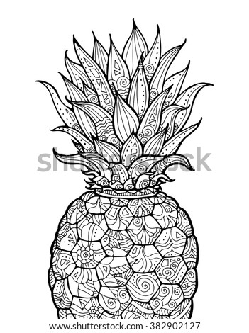 Ananas, pineapple, exotic fruit with floral pattern. Vector. Coloring book page for adult. Zentangle. Hand drawn artwork. Summer concept for party card, ticket, branding, logo, label. Black and white - stock vector