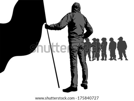 Anarchists with large flags and police - stock vector