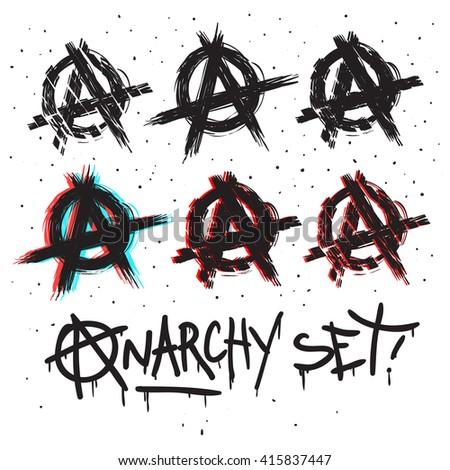 Anarchy symbols set drawing. vector illustration.  Hand draw sketch Anarchy illustration. - stock vector
