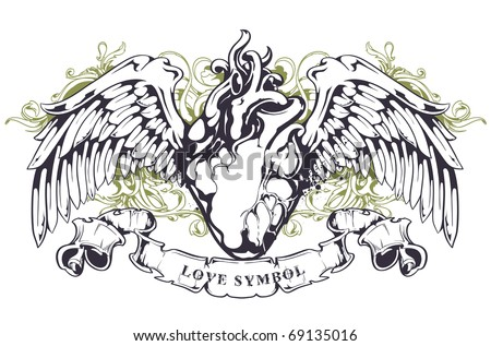 Anatomical heart with wings, ribbon and flourish pattern. Grunge style. Layered. Vector EPS 10 illustration. - stock vector