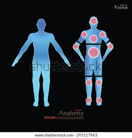Anatomy of human body showing pain or trigger points. - stock vector