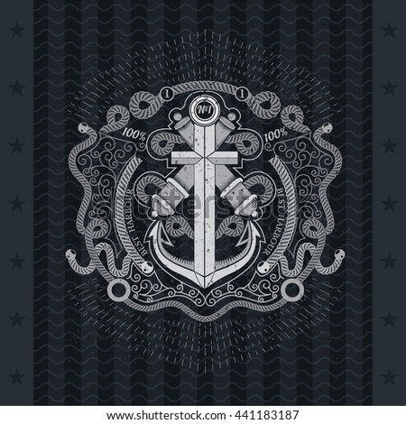 Anchor cross with two cannons in center of frame from line pattern and rope - stock vector