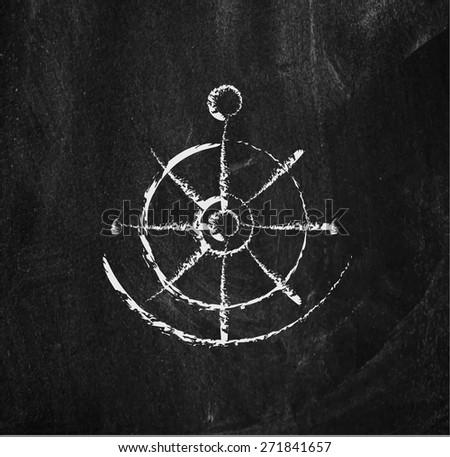 Anchor design element on a blackboard background - stock vector - stock vector