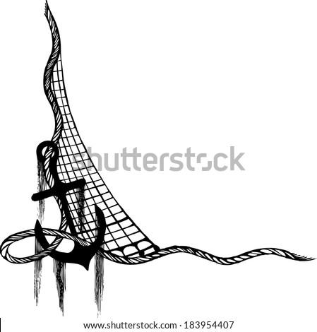 anchor, fishing net, anchor vector,ropes and anchor , anchor tattoo , anchor algae - stock vector