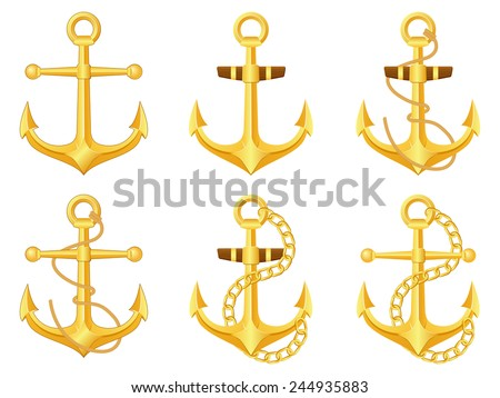 Anchor set on a white background. Vector illustration. - stock vector