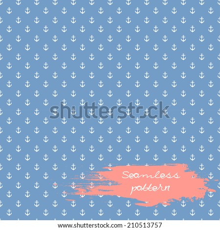 Anchors seamless pattern in blue color - stock vector