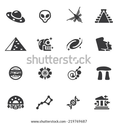 Ancient alien Silhouette icons - stock vector