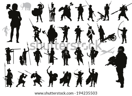 Ancient and modern warriors  silhouettes set. High detailed vector. EPS8 - stock vector