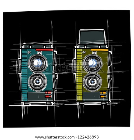 Ancient camera : sketchbook vector - stock vector
