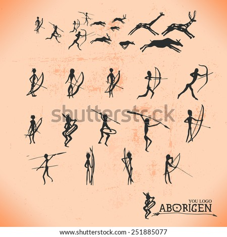 Ancient cave paintings of primitive people, the Aborigines, the moments of hunting and production of food, vector silhouette Aboriginal individual elements for you - stock vector