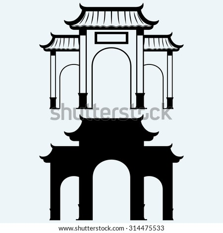 Ancient Chinese gate. Isolated on blue background - stock vector