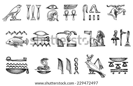 Ancient Egyptian hieroglyphs doodle set - stock vector